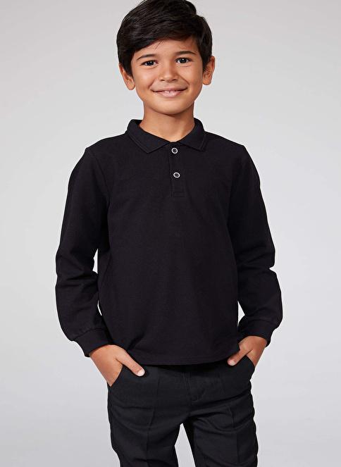 DeFacto Uzun Kollu Polo T-shirt Siyah